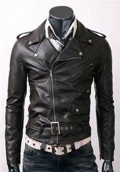 Handmade New Men Brando Style Slim Fit Leather par SupremeWear, $119.00