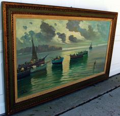 Original-OIL-PAINTING-by-A-PALINI-SEASCAPE-Boat-Harbor-Listed-Artist-HUGE-RARE