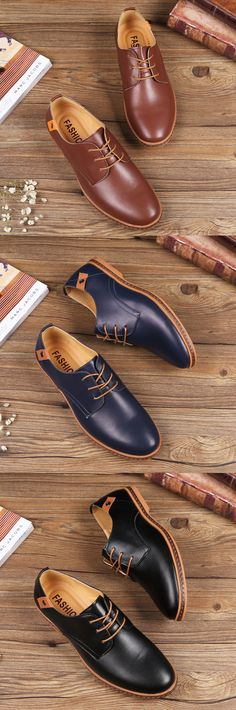 US$21.47 Big Size Men Pure Color Lace Up European British Style Flat Casual Oxford Shoes