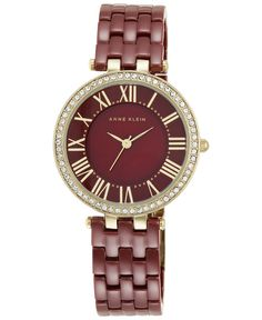 Anne Klein Women's Burgundy Ceramic Bracelet Watch