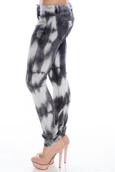 2b882d0eeaf996 Spotty Record Tie Dye Jeans - Black and White