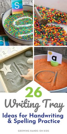 Spice up handwriting and spelling word practice with these fun 26 themed writing tray ideas. #Handwriting #SpellingWords #WritingTray #EarlyElementary #SchoolBasedOT #OTTips #SensoryTray #SensoryWriting #HandwritingPractice #OccupationalTherapy Proprioceptive Activities, Montessori Activities, Preschool Learning, Preschool Ideas, Fine Motor Activities For Kids, Hands On Activities, Pre Writing, Writing Skills, Spelling Word Practice