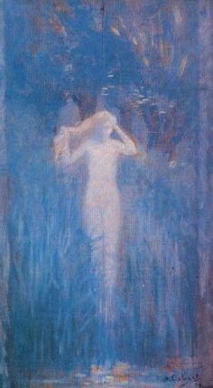 Alphonse Osbert (French, Symbolism, 1857-1939): Muse at Sunrise