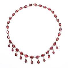 Passionate Georgian Garnet Gold Necklace, high carat gold, circa 1820