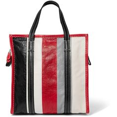 Balenciaga Bazar small striped textured-leather tote (46,990 THB) ❤ liked on Polyvore featuring bags, handbags, tote bags, red, tote purses, zip tote bag, zip pouch, tote handbags and balenciaga tote