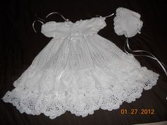 crochet patterns baptism gown for girls | finished the christening dress and the bonnet ! Isn't this the most ...