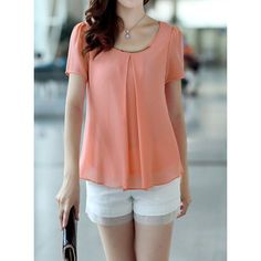 Simple Scoop Neck Short Puff Sleeve Chiffon Solid Color Women's Blouse, PINK, M in Blouses | DressLily.com