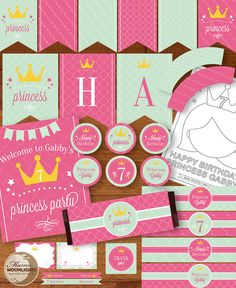 Princess Birthday Party Printable Package  DIY  by MamaMoonlights, $22.50