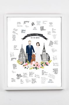 Wedding Guest Book Sign Custom Couple Portrait by easyprintPD