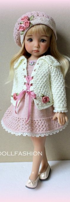 Ideas For Doll Dress Vintage American Girls Crochet Doll Clothes, Knitted Dolls, Doll Clothes Patterns, Girl Doll Clothes, Crochet Dolls, Girl Dolls, Crochet Baby, Baby Dolls, Dolls Dolls
