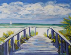 Bold Colorful Sailing Florida Beach Landscape Painting.