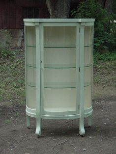 Bowed front china curio by Cortland Cabinet Company 1920s Cream with LIGHTS! - I Antique Online
