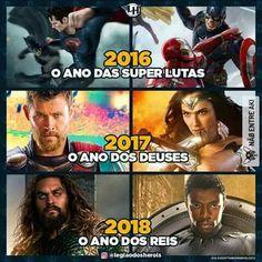 Lutas, deuses e reis! Marvel Dc Comics, Marvel Avengers, Dc Memes, Funny Memes, Marvel Universe, Mundo Marvel, Geek Humor, Geek Meme, Fandom Crossover