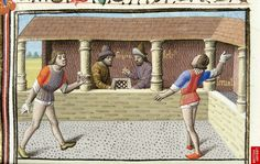 Tennis, played with hands instead of rackets in British Library Harley 4375 Medieval Games, Medieval Life, Old Games, Games For Kids, Children Games, British Library, History Of Chess, Renaissance, Old Things