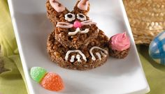 Easter Recipes - A crispy, chocolatey bunny your kids can make and decorate