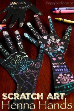 Scratch Art Henna Handprint Craft – a Gorgeous Handprint Art Activity for Kids via @https://www.pinterest.com/happyhooligans/