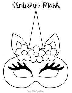 Unicorn Face Masks with FREE Printable Templates - Simple Mom P . - Unicorn face masks with FREE printable templates – Simple Mom Project - Printable Masks, Unicorn Printables, Free Printables, Printable Templates, Printable Halloween Masks, Masque Halloween, Costume Halloween, Halloween Unicorn, Diy Costumes