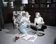 Reading magazines with a friend in 1954.   - ELLE.com