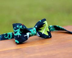 Christmas Tree Boys Bow Tie  Green Pine Trees on by becauseimme