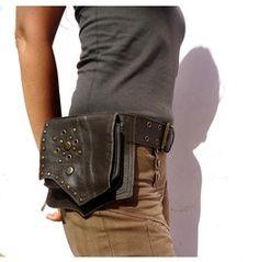 Leather Steampunk Accessories Belt Pockets Hip Bag