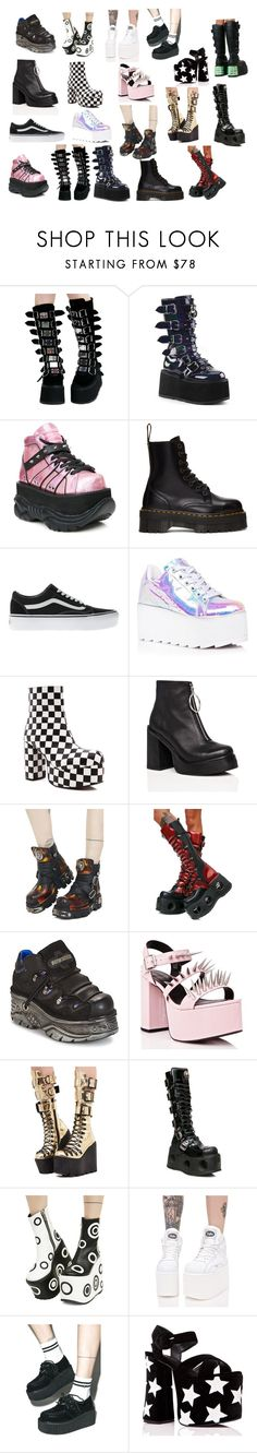"""""""Shoes i want"""" by indytjuhxx on Polyvore featuring mode, Demonia, Dr. Martens, Vans, Y.R.U., Current Mood, New Rock en Shellys"""