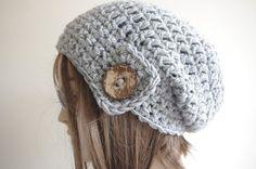 GRAY Womens hat  chunky knit Slouchy gray  Beanie by yagmurhat