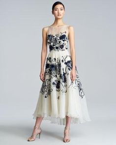 LELA ROSE FLORAL-EMBROIDERED SILK CHIFFON DRESS