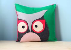 Owl  Felt Pillow Cover Decorative Cushion Throw by AlicesPocket