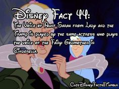"""Disney Fact 44:  The voice of Aunt Sarah from """"Lady and the Tramp"""" is played by the same actress who played the voice of the Fairy Godmother in """"Cinderella.""""  She was also the voice for the Queen of Hearts in """"Alice in Wonderland."""""""