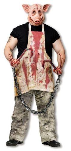 Da hat sich der Spieß umgedreht. Dieses Schwein ist es Leid und rächt sich am Metzger! Blutiges Kostüm für Halloween!