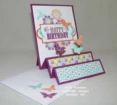 Kelly has provided a video to show how to make this fancy fold card. She used Madison Avenue (SAB), You're Amazing, Bloomin' Marvelous (SAB), Sycamore Street dsp & ribbon (SAB), Apothecary Accents framelits, & Bitty Butterfly punch.