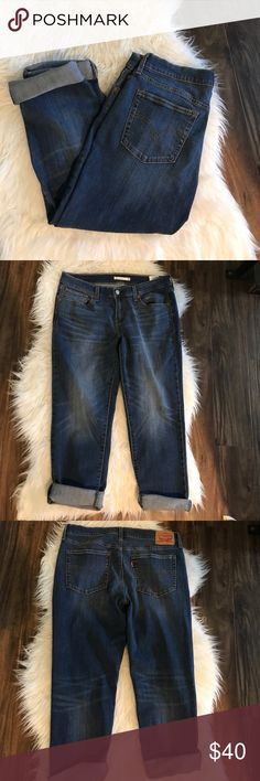 Levi Boyfriend Jeans Levi Strauss jeans. Boyfriend style, good condition. These have stretch. Inseam 25, meant to be rolled. Levi's Jeans Boyfriend