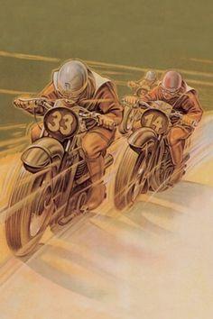 Motorcycle Racing by Klokein Painting Print on Wrapped Canvas Weinlese-Motorrad-Plakat Bike Poster, Motorcycle Posters, Motorcycle Art, Bike Art, Classic Motorcycle, Motorcycle Memes, Motorcycle Jackets, Motos Vintage, Vintage Bikes