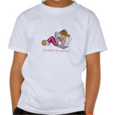 """Cute """"I'd rather be #reading"""" #tshirt for little book lovers! http://www.zazzle.com/shopmisso/clothing #kids #clothing"""