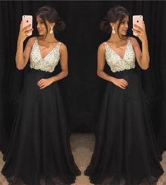 Black Prom Dress Chiffon Prom Dress V-neck Evening Gowns Long Formal Dress Long Evening Gowns Crystal Beaded Dress Black Prom Dresses, Prom Dresses With Sleeves, Formal Dresses, Dress Black, Prom Dresses Black Long, Formal Wear, Homecoming Dresses Long, Elegant Dresses, Sexy Long Dress