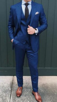 Men's Suits - for made to measure Inquiries➡️ nivetasfashion whatsapp Nivetas Design Studio We ship worldwide from India . Blue Suit Brown Shoes, Blue Suit Men, Blue Suits, Dark Blue Suit, Man Suit, Groomsmen Suits, Men's Suits, Blue Suit Wedding, Wedding Suits