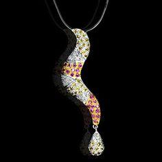18K W Gold Natural 0.22 Cts Diamond Multi Sapphire Pendant With Chain Valentine! #Pendant