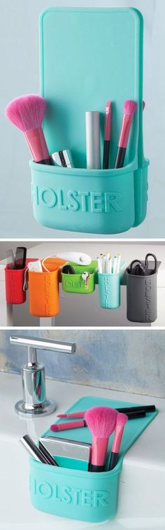 Portable silicone holster that clings to any smooth surface, removes easily & reusable. Endless wses & perfect for travel! Genius - awesome invention! #product_design
