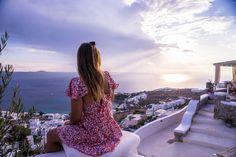 Dreaming of Mykonos sunsets 💭 Mykonos, Vacation Villas, Travel Inspiration, Wanderlust, Short Sleeve Dresses, World, Sunsets, Tops, Blog