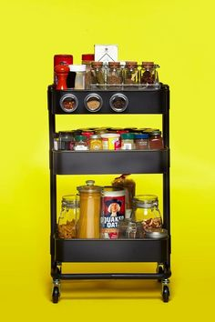 The IKEA RÅSKOG Cart as Spice Rack — IKEA RÅSKOG Cart, 10 Ways I'm a little dubious about having the spices out and exposed to the light like this. Ikea Storage, Pantry Storage, Kitchen Storage, Storage Hacks, Storage Solutions, Ikea Raskog Cart, Ikea Cart, Kitchen Ikea, Kitchen Cart