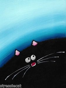ACEO Print Acrylic Painting Folk Art Whimsical Illustration Fat Black Cat Blue 7 | eBay