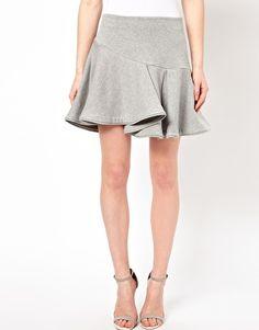 Chalayan Grey Line Whirl Skirt in Grey Marl Sweat
