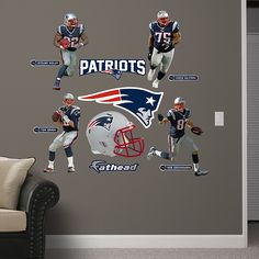 New England Patriots Power Pack REAL.BIG. Fathead – Peel & Stick Wall Graphic   New England Patriots Wall Decal   Sports Home Decor   Football Bedroom/Man Cave/Nursery