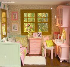 Miniature Rooms, Miniature Houses, Wooden Outdoor Playhouse, American Girl Doll Room, Diy Doll Miniatures, Barbie Diorama, Mini Doll House, Shabby Chic Interiors, Barbie Furniture