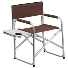 buy aluminum folding camping chair with table and drink holder in brown at harvey u0026 haley for only