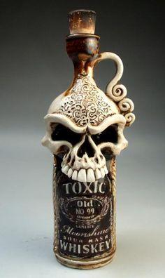 Skull Toxic Whiskey Face Jug folk art sculpture pottery by Mitchell Grafton Potion Bottle, Bottle Art, Bottle Crafts, Moonshine Whiskey, Sculpture Art, Sculptures, Face Jugs, Paperclay, Skull And Bones