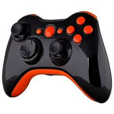 Black Glossy Shell With Orange Glossy Trim & Buttons