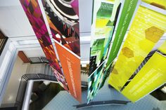 bright fabric banners - environmental graphics