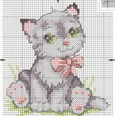 Schematic cross stitch Kitten Pink