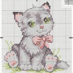 Schematic cross stitch Kitten Pink